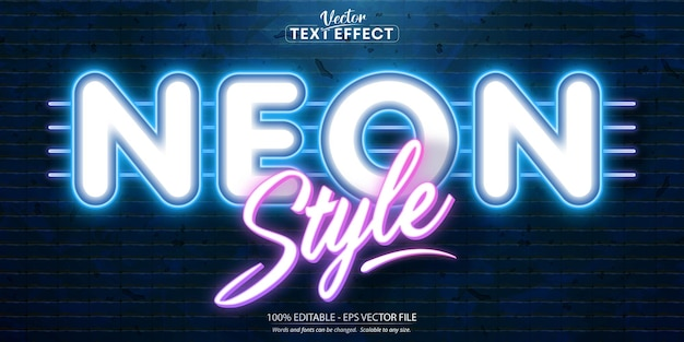 Neon style editable text effect on brick wall background