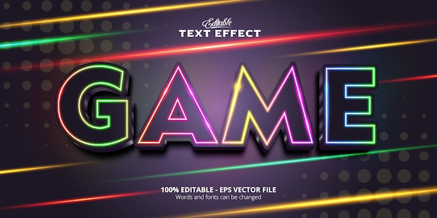 Neon style editable text effect, game text