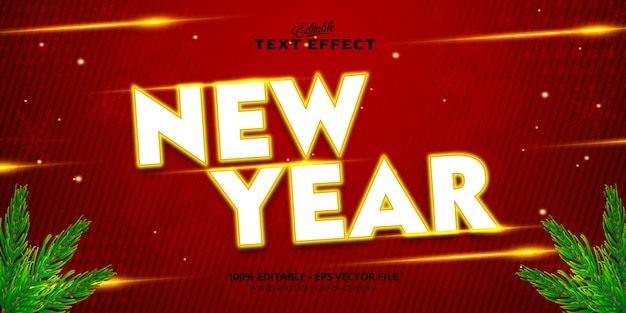 Neon style editable text effect, new year text