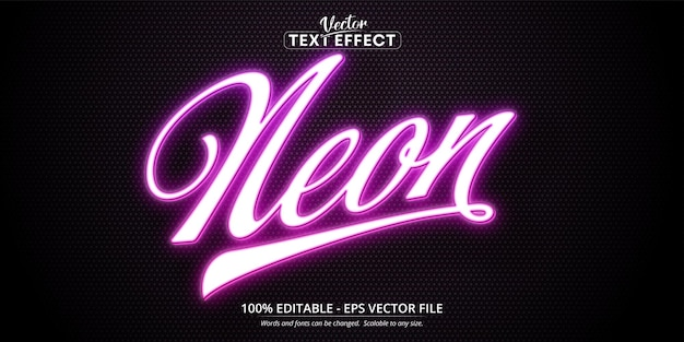 Neon style editable text effect