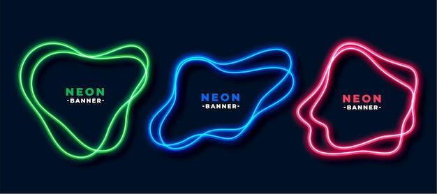 Set di banner di forma fluida stile neon