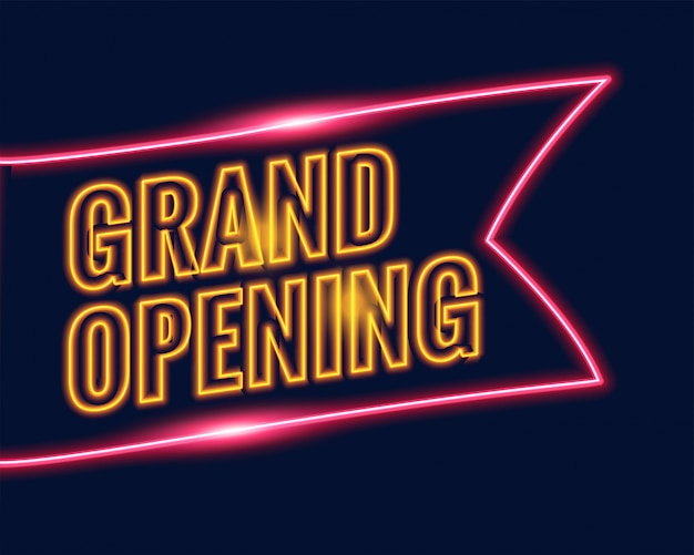 Neon style grand opening banner background