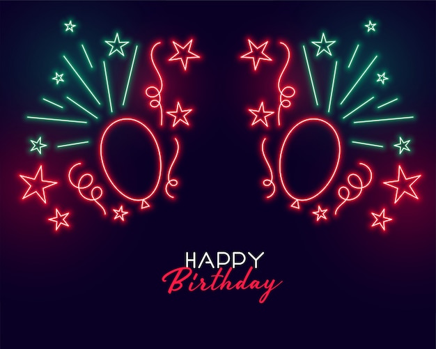 Neon style happy birthday background with balloons