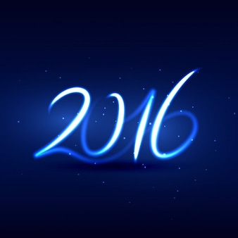 Neon style happy new year 2016 card