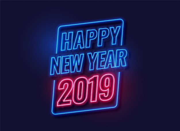 Neon style happy new year 2019 background