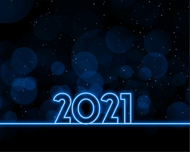 Neon style happy new year 2021 background design