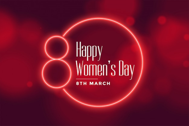 Neon style happy womens day background