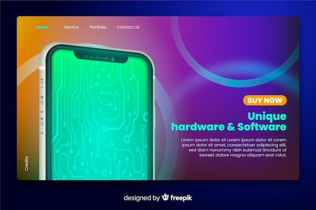 Neon style landing page with smartphone