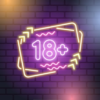 Neon style number 18+