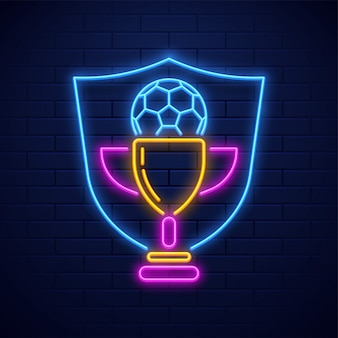 Neon style soccer trophy award illustration on brick wall background