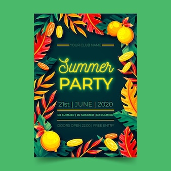 Neon summer party lettering flat design poster