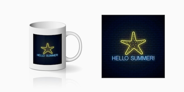 Neon summer print with sea star symbol for cup design. summer