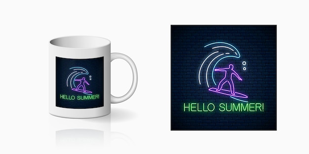Neon summer print with surfer in ocean wave for cup design. man on surfboard on waves symbol, design
