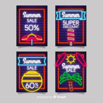 Neon summer sale banner pack