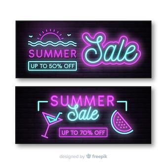Neon summer sale banner pack