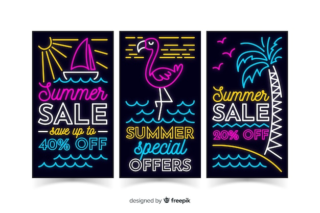 Neon summer sale banners template
