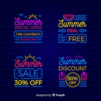Neon summer sale banners