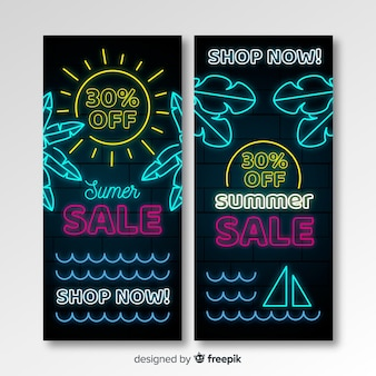 Neon summer sale banners