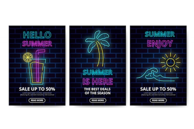 Neon summer sales banner collection