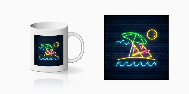 Neon summer sign with umbrella, sun, chaise-longue for cup design. shiny summertime symbol, design on mug