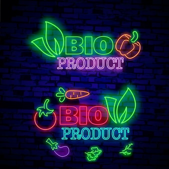 Neon symbol, bright luminous sign, neon night advertising on the theme of vegetarian food