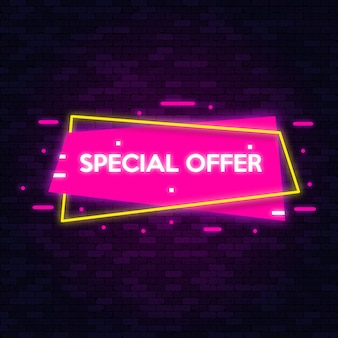 Neon symbols banner special offer