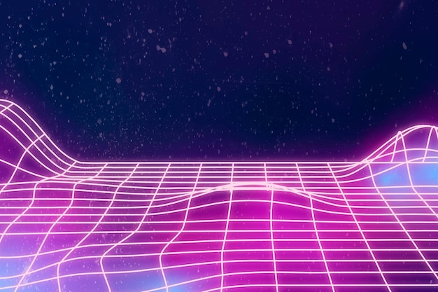 Neon synthwave  background with design space Free Vector
