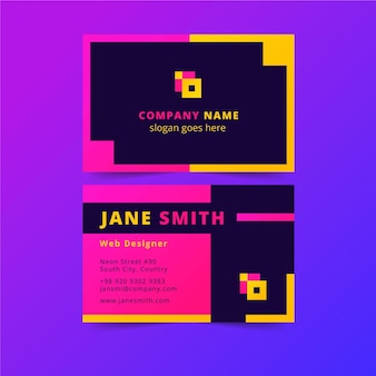 Neon template for business cards