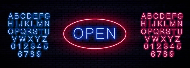 Neon template signboard open.