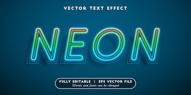 Neon text effect, editable text style
