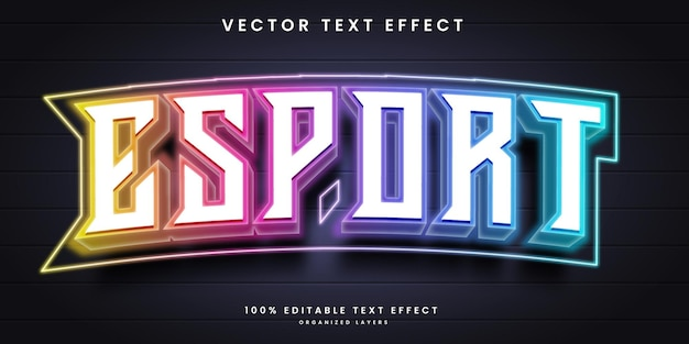 Neon text effect in esport style