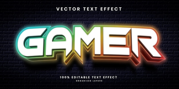 Neon text effect in gamer style