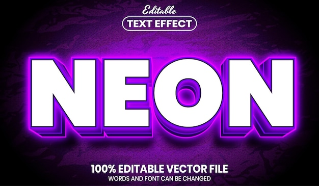 Neon text, font style editable text effect