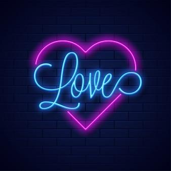 Неон текст любви и формы сердца