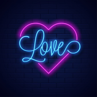 Neon text love and heart shape