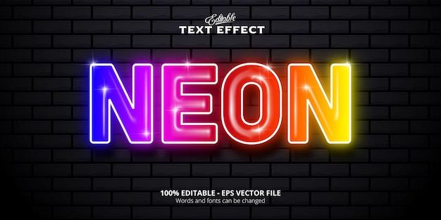 Neon  text neon style editable text effect