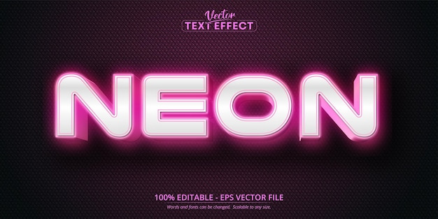 Неоновый текст, эффект редактируемого текста в розовом цвете