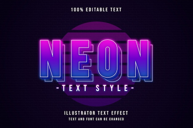 Neon text style, editable text effect pink gradation purple neon layers text style