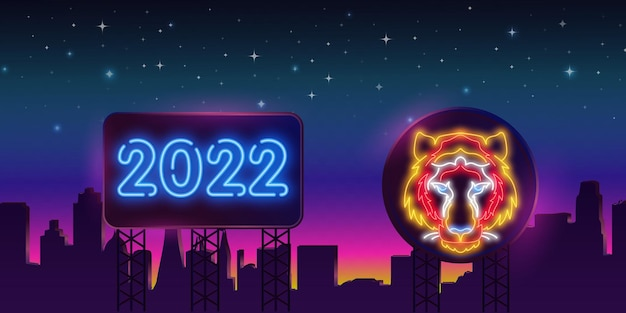 Неоновый тигр 2022 года на рекламном щите в ночном городе. ночная яркая неоновая вывеска, красочный рекламный щит, световой баннер. векторная иллюстрация в неоновом стиле.