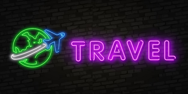Neon time to travel and summer holiday icon