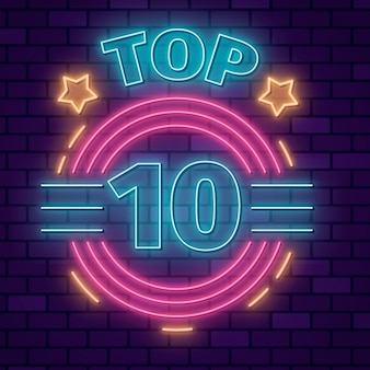 Neon top ten illustrazione