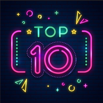Neon top ten sign with rectangular frame