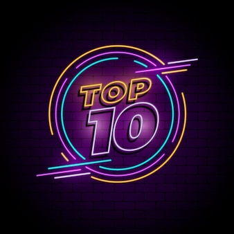 Neon top ten sign with round frame