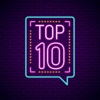 Neon top ten sign