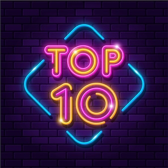 Neon top ten sign
