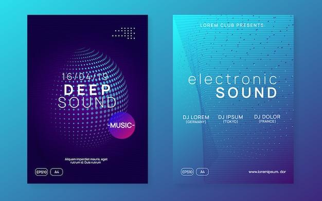 Neon trance event flyer set
