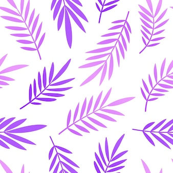 Neon trend pattern with tropical leaves of palm