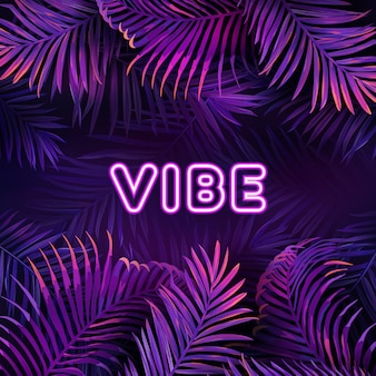 Neon tropic party design, palm violet jungle leaves nighclub poster, summer vibrant night exotic vector illustration, purple bright glow cyberpunk flyer, background with place for your text