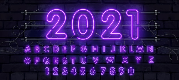 Neon tube alphabet font illustration
