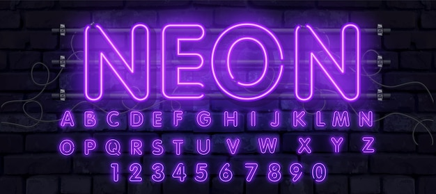 Neon tube alphabet font illustration